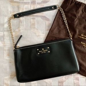 Kate Spade Black Leather Gold Chain Shoulder Purse